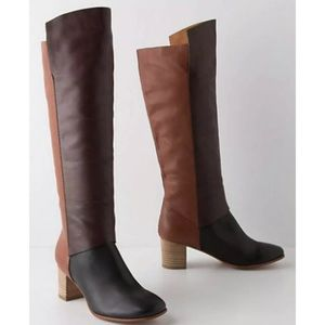 Anthropologie Leifnotes Mixed Leather Robyn Boots
